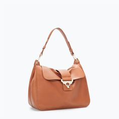 ZARA - WOMAN - LEATHER CITY BAG WITH GOLD DETAIL