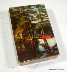 Vintage Deck of Cards Pinochle Cabin on Lake by AntiquesGaloreGal