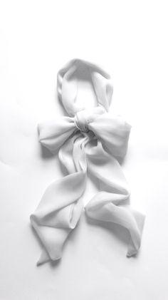 super light gray silk chiffon neck bow