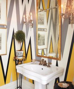 """I want to wake up tomorrow with the courage to do this to my guest bath walls!!  Imagine how formal and """"seen it before"""" this bath would be without the them!"""