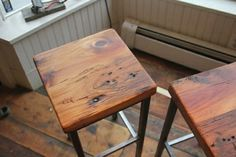 Reclaimed Pine and Metal Stools by Vermont Farm Table Set Em Up: 10 Retro Modern Barstools