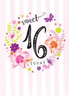 Debbie Edwards - Age Birthday Milestone Big Number 16 16th In Floral Wreath