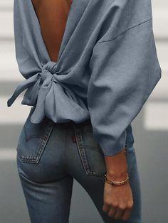 Cute blouse back design – Style Tips Mode Outfits, Casual Outfits, Fashion Outfits, Womens Fashion, Fashion Trends, Fashion Styles, Casual Wear, Fashion Ideas, Fashion Pattern