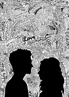 art project idea for Chase - draw our silhouettes and shade them in. Around our silhouettes, write/draw different things that relate to us (ex: Denny's logo; our anniversary date, tennis ball/racket, etc.)