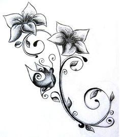 Flowers tattoo designs paintings 68 Ideas for 2019 Vine Tattoos, Cool Tattoos, Subtle Tattoos, Flower Tattoo Designs, Flower Designs, Tattoo Flowers, Flower Ideas, Art Designs, Flower Art