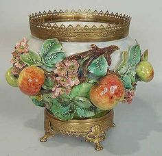 Beautiful Longchamp French Majolica Cachepot with Apples with Bronze Details