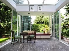 I want a glass room one day. Vista House, Glass Room, Backyard, Patio, Outdoor Furniture Sets, Outdoor Decor, Winter Garden, Home Renovation, Gazebo