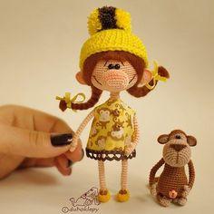 И третья маленькая девчуля, с обезьянкой. 2300руб + пересылка из Москвы, если нужна. #дубоклёпы_куклы