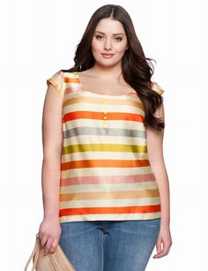 Sunny Striped Tee | Plus Size Tops & Shirts | eloquii by THE LIMITED