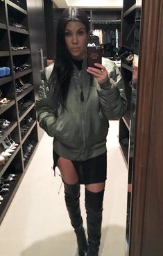 10 Celebrities Prove the Army Green Bomber Jacket Is the Season's New Must-Have - Kourtney Kardashian from InStyle.com