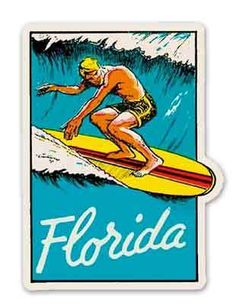 Florida Surfing Vintage Travel Decal