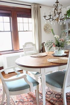 Silver Pennies: Dining Room Reveal - Designing on a Dime - Dining room set in Old White Chalk Paint® with Sunbrella fabric seats.