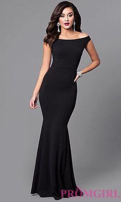 5f31c7a100cc4 Black Off-the-Shoulder Long Mermaid Prom Dress at PromGirl.com Mermaid Prom