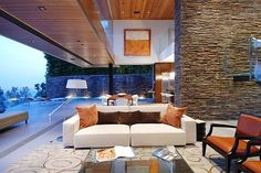 Living room with All Outdoor Colors...blue & clear sky colors, gold moon and cedar wood