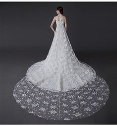 Lace Pearl Wedding Dress Elegant Long Train by TavassoliDesigns