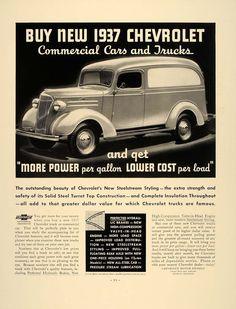 1937 Vintage Ad Chevrolet Commercial Cars Trucks Chevy - ORIGINAL FT8