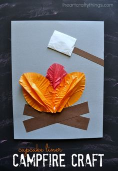 I HEART CRAFTY THINGS: Cupcake Liner Campfire Craft for Kids