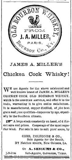 Chicken Cock Whiskey ad - Galvenston Daily News - Jun 12 1869
