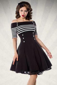 Sailor Rockabilly-Kleid mit Streifen und Knöpfen -...
