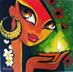 by Niloufer Wadia Madhubani Art, Madhubani Painting, Rajasthani Art, Indian Art Paintings, Abstract Paintings, Indian Folk Art, India Art, Arte Pop, Tribal Art