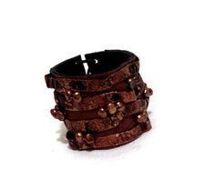 Rustic leather bracelet with pearls Statement by julishland, $22.00