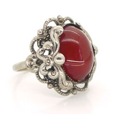 Vintage Art Nouveau Style Carnelian Glass Floral Ornate Ring | Clarice Jewellery | Vintage Costume Jewellery