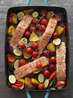 To cut calories further, spray rather than drizzle the oil on the vegetables or use white fish fillet