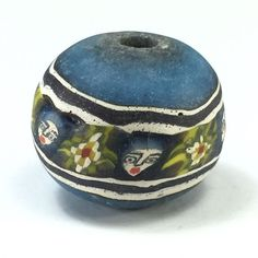 RARE Old Face Islamic Blue Roman Glass Bead Pattern Phoenician Near Eastern M61 picclick.com