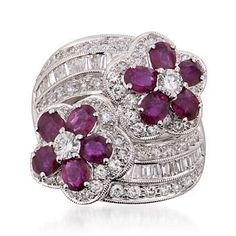 Ross-Simons - C. 2000 Vintage 4.00 ct. t.w. Ruby and 2.75 ct. t.w. Diamond Ring in 18kt White Gold. Size 8.25 - #811394