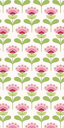 Retro half drop pattern in pink and green