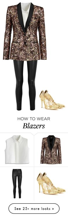 """""""Shining like gold paper"""" by allyse-sympson on Polyvore featuring Helmut Lang, Chicwish, Just Cavalli and Oscar de la Renta"""