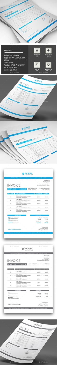 Invoice Proposal templates, Font logo and Fonts - invoice page
