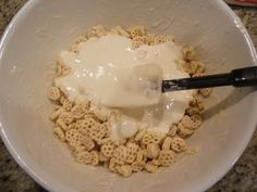 """""""rice crispy bars' made with honey comb cereal for Bee party"""