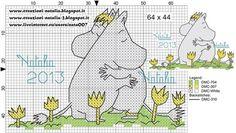 "Photo from album ""Schemi - Natalia/ Схемы - Natalia"" on Yandex. Diy Embroidery, Vintage Embroidery, Cross Stitch Embroidery, Embroidery Designs, Knitting Charts, Knitting Patterns, Cross Stitch Designs, Cross Stitch Patterns, Les Moomins"