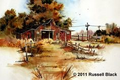 Daily Painters Of Utah: Russell Black - Watercolor Watercolor Disney, Watercolor Pictures, Watercolor Artists, Watercolor Techniques, Watercolor Paintings, Easy Painting Projects, Future Artist, Daily Painters, Red Barns