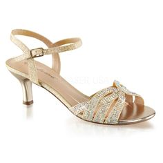 Fabulicious AUDREY-03 Nude Shimmering Fabric Ankle Strap Sandals