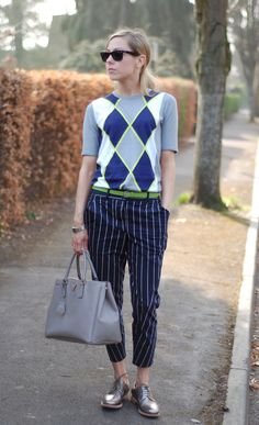 Pringle sweater, striped trousers and silver brogues Silver Brogues, Metallic Brogues, Brogues Outfit, Daily Dress, Pants Outfit, Everyday Look, Preppy, Spring Fashion, Style Me