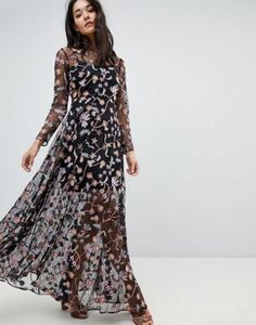 ASOS EDITION All Over Multi Coloured Floral Embroidered Maxi Dress