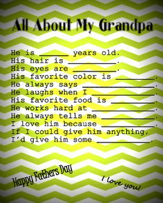 father's day printable - all about dad or grandpa