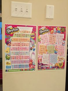 Shopkins shopping lists enlarged