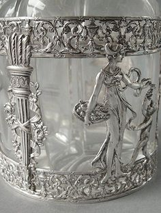 Rare Antique French Empire Sterling Silver & Glass Decanter Set from antiquemystique on Ruby Lane