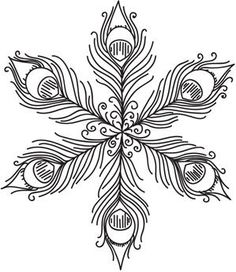 Embroidery Designs at Urban Threads - Peacock Feather Snowflake Cross Stitch Embroidery, Embroidery Patterns, Hand Embroidery, Machine Embroidery, Snowflake Embroidery, Snowflake Pattern, Colouring Pages, Coloring Books, 3d Quilling