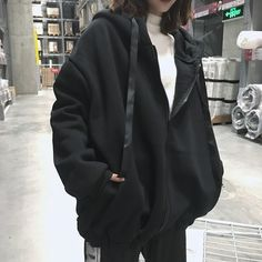 Harajuku Hoodies Women Sweatshirts Oversized Zipper Winter Pullover Sweatshirts Womens Letter Print Kpop Hoody Pullover Moletom in 2020 Mode Ulzzang, Hooded Sweatshirts, Hoodies, Frauen Sweatshirts, Korean Street Fashion, Mode Hijab, Cute Casual Outfits, Tomboy Outfits, Emo Outfits