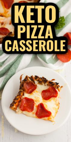 Not sure if you want keto pizza for dinner or a keto casserole? Try this Keto Pizza Casserole! It's keto deep dish pizza with pepperoni, gobs of cheese, and a delicious crust that you won't believe contains cauliflower. Your whole family will love its cheesy yumminess! Not just for the keto diet - also great as a high fat low carb dinner recipe for the low carb diet. Your pizza cravings will be satisfied!