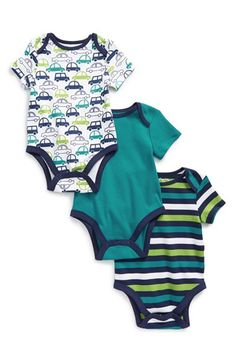 Offspring 'Cars' Cotton Bodysuits (Set of 3) (Baby Boys) available at #Nordstrom