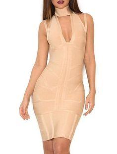 Aine Nude Deep V Neckline Bandage Dress 15fb78173