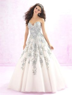 Madison James 119 - Size 12- Ivory -On Sale! It's all about the details - our ballgown's ethereal floral embroidery is threaded luminous beadwork.
