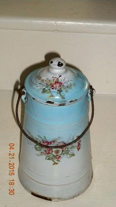 Antique French Enamelware Painted Flowers Milk by euromercantile