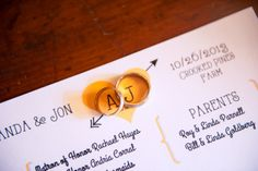 The rings + the darling program, designed by the bride! ::Amanda + Jon's naturally beautiful fall wedding at the Crooked Pines Farm in Eatonton, Georgia:: #weddingprogram #papergoods #stylish #weddingphotography #ringshot  #diyprogram
