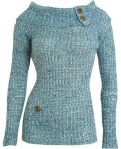 Boat Neck Button Sweater - Teen Clothing by Wet...